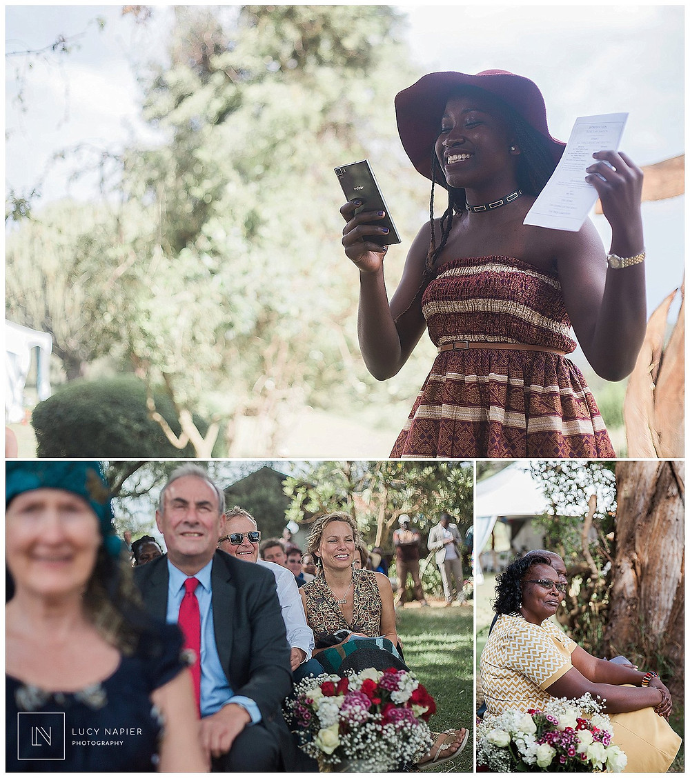 a reading is said at the british kenyan wedding in Kenya
