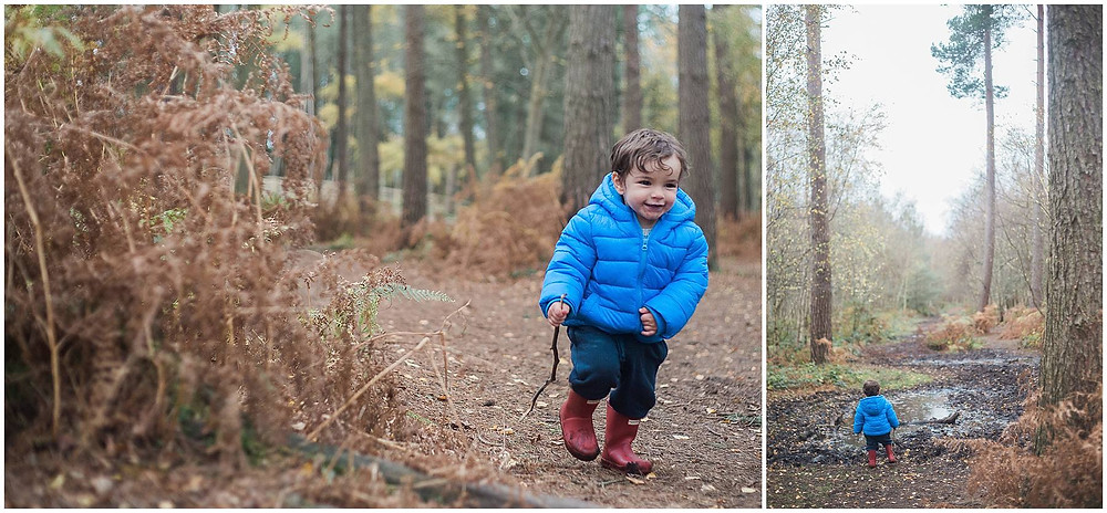 little boy runs through the forrest