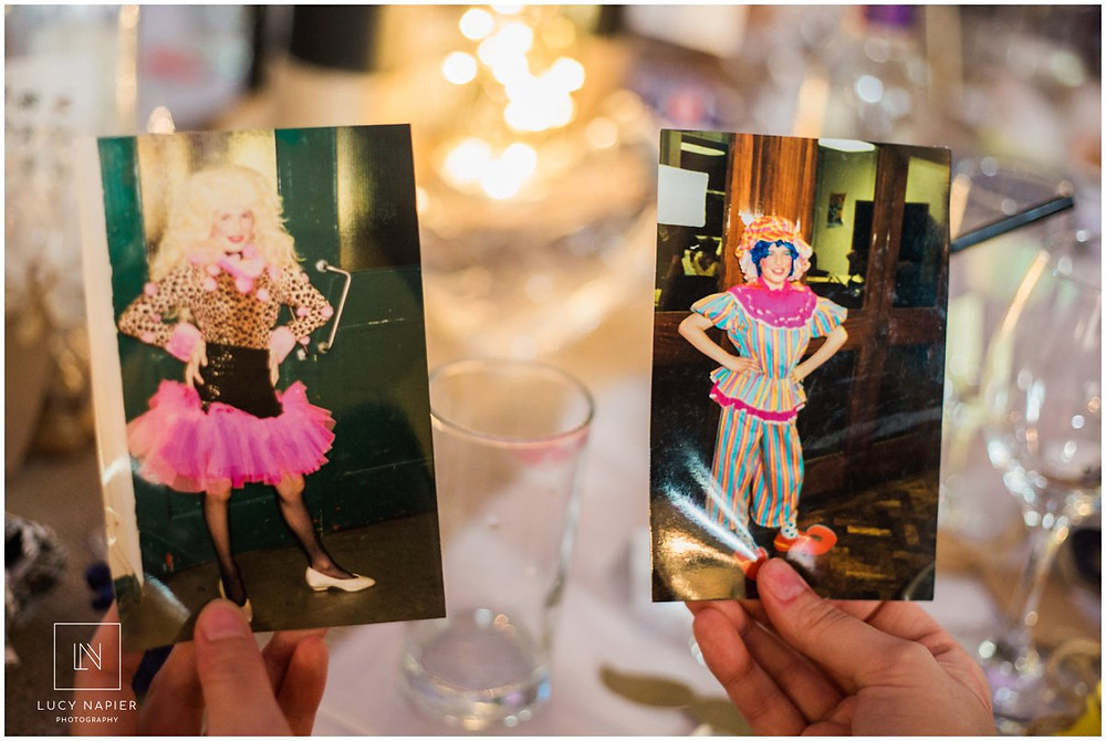 photographs of the groom dresses as a pantomime dame