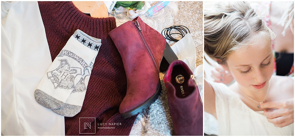 Harry Potter socks and maroon boots