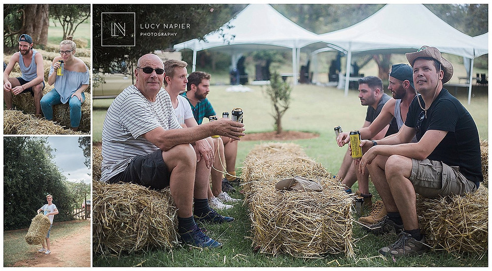 a relaxing beer after moving haybales