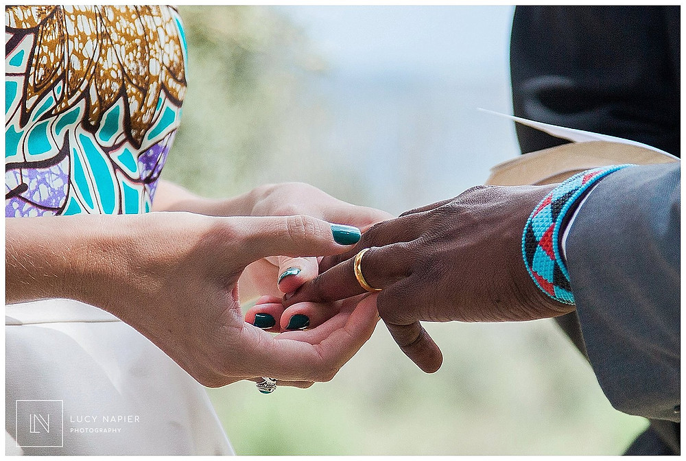 rings are exchanged British Kenyan fusion wedding
