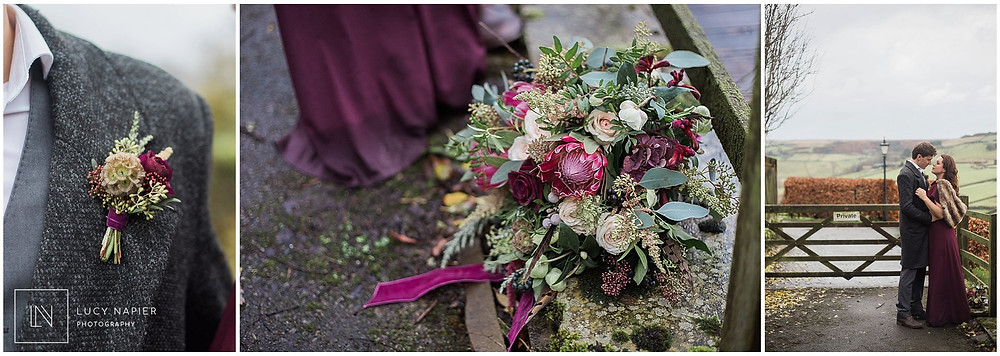 beautiful burgundy bouquet and button hole
