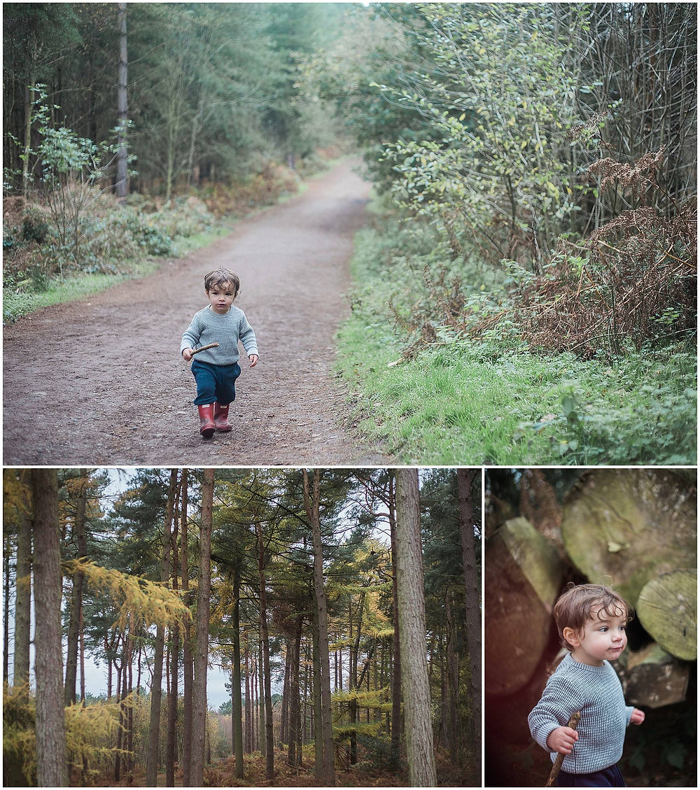 little boy in red wellies on a forrest trail