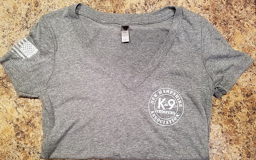 Women's V-Neck Gray Workout Shirt