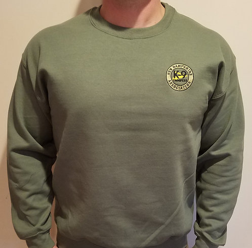 Crew Neck- Embroidered OD Green