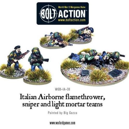 Italian Airborne flamethrower, sniper and light mortar teams