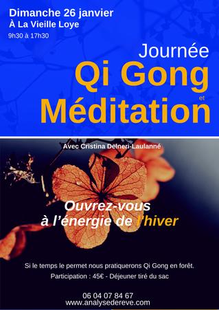 Qi gong en forêt au cœur de l'hiver