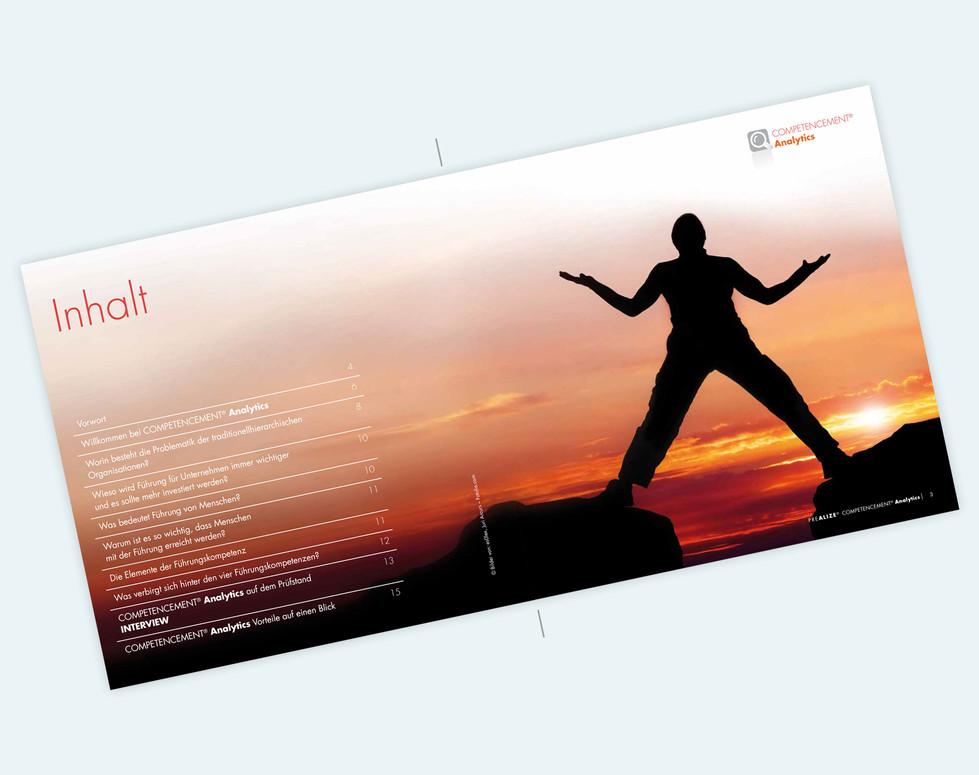 PREALIZE GmbH, Flyer, 21 x 21 cm, Inhaltsverzeichnis