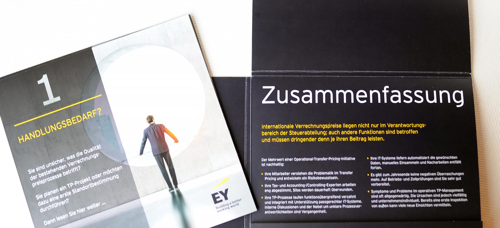 EY, Mappe mit Einlegern, 21 x 21 cm