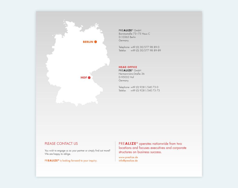 PREALIZE GmbH, Flyer, 21 x 21 cm, Rückseite