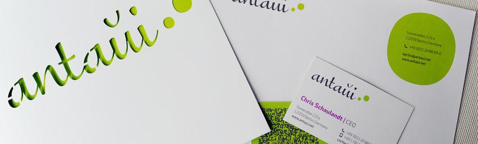 antaui GmbH, Flyer, Briefpapier, Visitenkarten