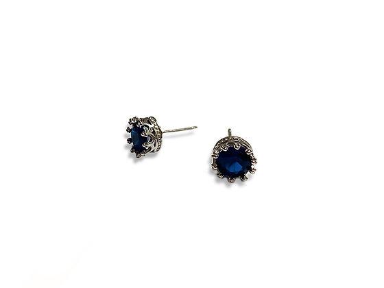 Hepburn Crown Studs-Sapphire Blue