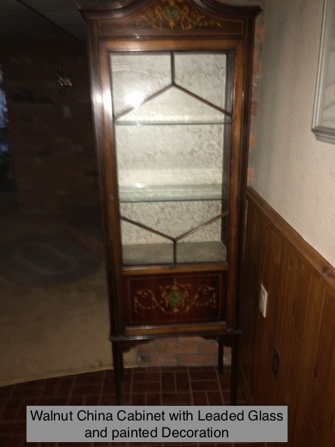 Walnut Cabinet With Leaded Glass
