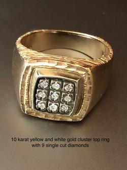 10 Karat Gold Cluster Top Ring