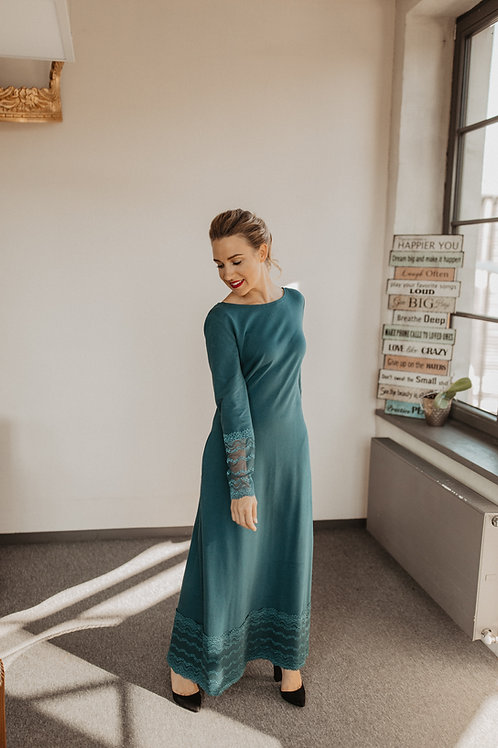 LONG COTTON WITH LACE DRESS NR. 3