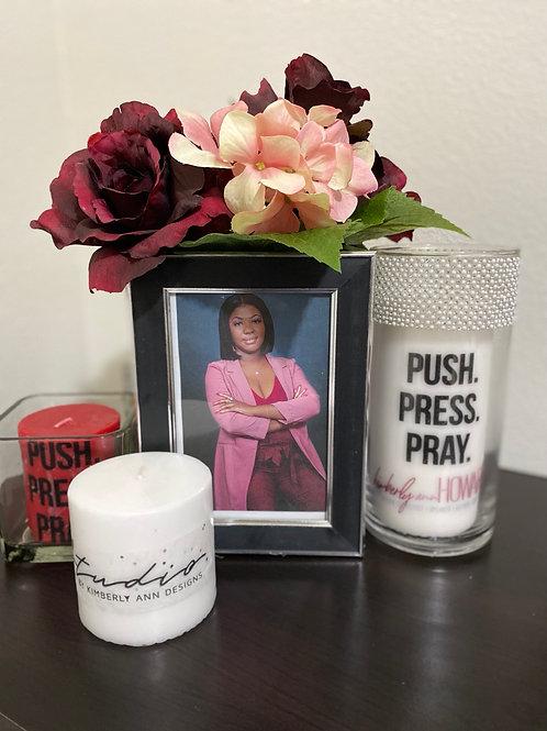 Push.Press.Pray. Large Candle