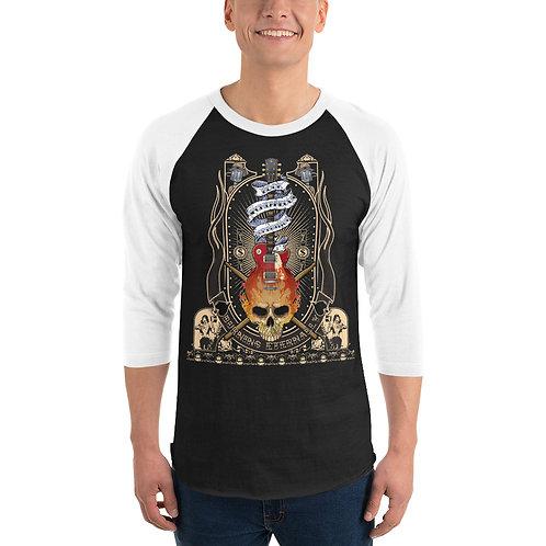 Flame Skull 3/4 sleeve raglan shirt