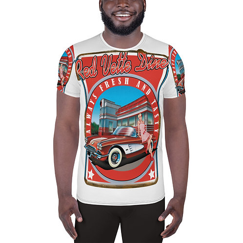 Red Vette Diner All-Over Print Men's Athletic T-shirt