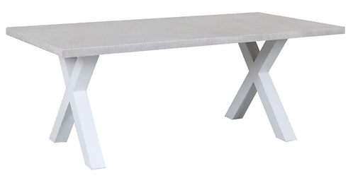 GRC Cement table with X leg white