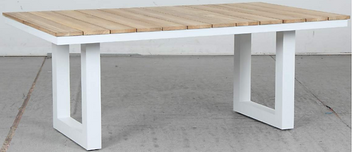 Natural Teak White metal frame table