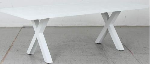 Aluminium table white X leg