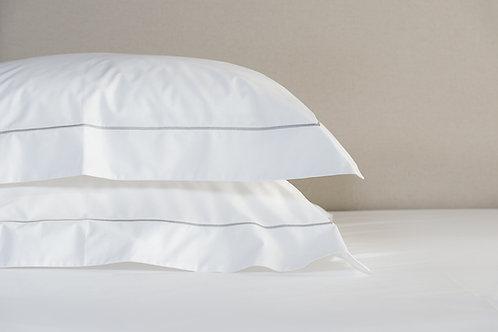 Savile Cord white silver stacked oxford pillowcases