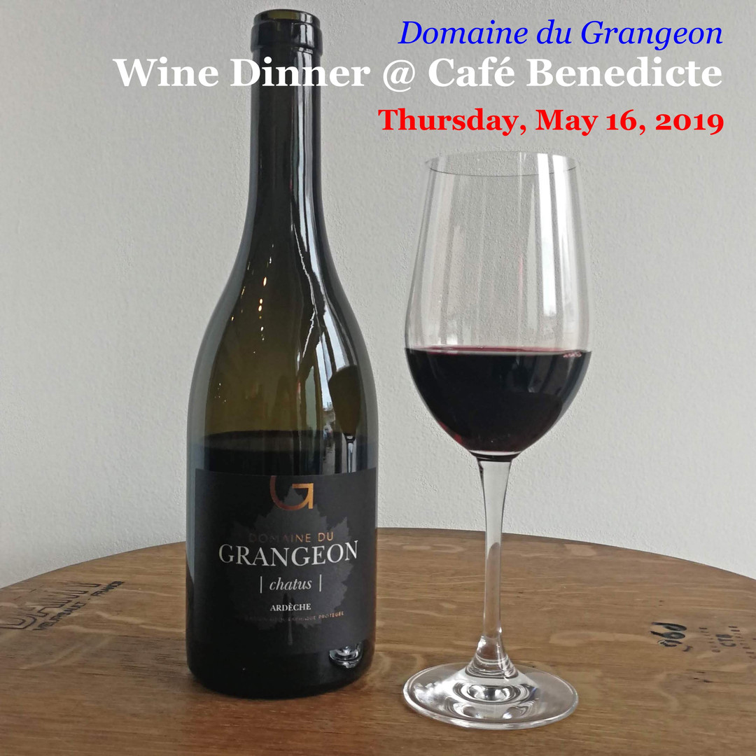 """A four-course Domaine du Grangeon wine dinner, with Jean-Philippe Guy, proprietor, French Country Wines.  The dinner will pair four superb wines, including a 2014 Domaine du Grangeon Chatus, with a four-course Cafe Benedicte special menu.""  First Course Bouillabaisse Viognier 2017  Second Course Seared Pork Belly and Baby Spinach Salad Chardonnay 2015  Entree Grilled Lamb Chops and Smoked Duck (Plum Wine Sauce) Syrah 2015 Chatus 2014  Dessert Crepe Fitzpatrick Espresso or Cappuccino   $75 Per Person  Excludes Tax and Gratuity  Please make reservations with Café Benedict via phone:  Phone: 281-741-0853  Above is subject to change. Please contact restaurant directly for the most up to date information."