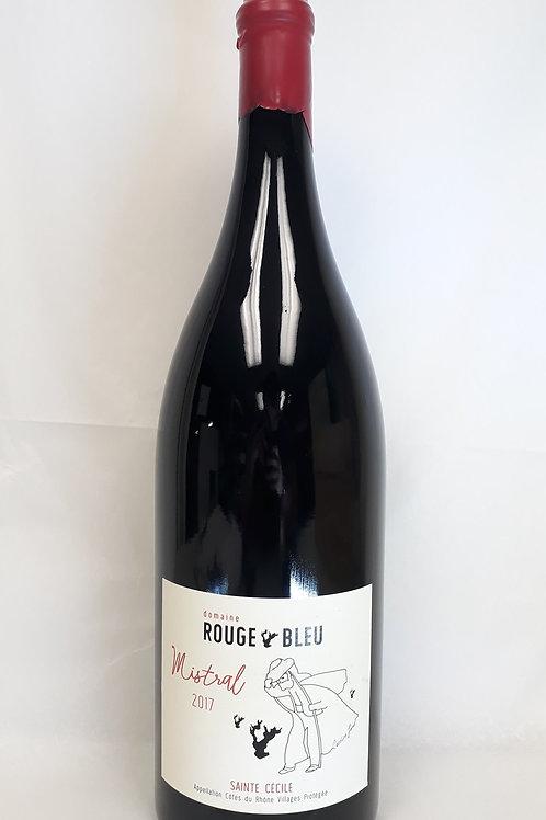 DOUBLE MAGNUM Domaine Rouge-Bleu, Côtes du Rhône Villages, Mistral 2017