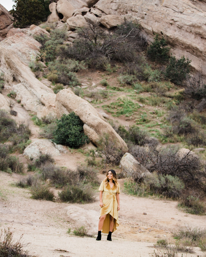 Rachel Birkhofer Photography, Dominique & Zach Elegant Outdoor Session, outdoor engagement, vasquez rocks engagement, velvet dress, yellow dress, adventure session, love, seattle wedding photographer, california adventure photographer, lifestyle session, outfit inspiration,