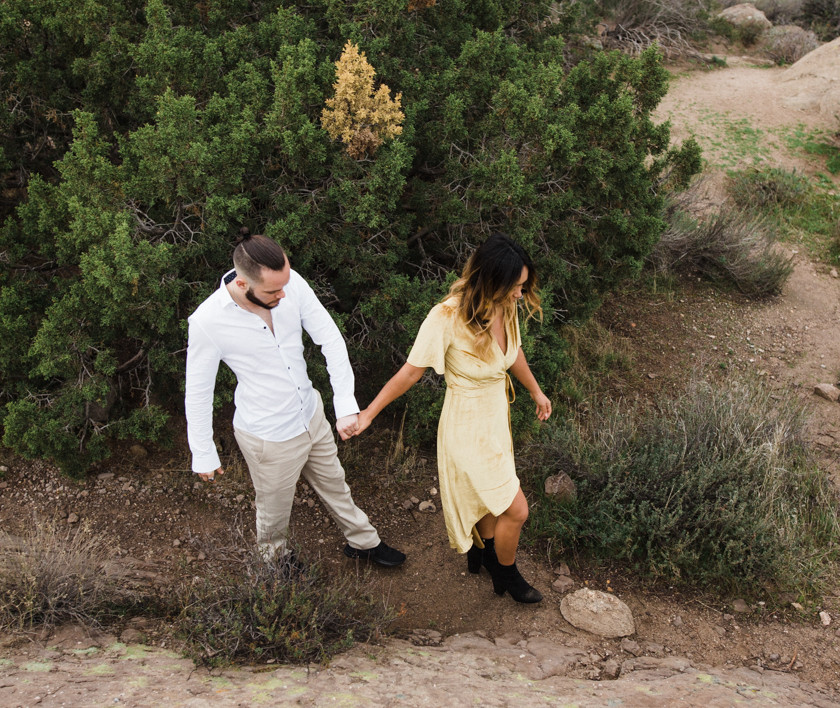 Rachel Birkhofer Photography, Dominique & Zach Elegant Outdoor Session, outdoor engagement, vasquez rocks engagement, velvet dress, yellow dress, adventure session, love, seattle wedding photographer, california adventure photographer, lifestyle session, posing inspiration, couples posing