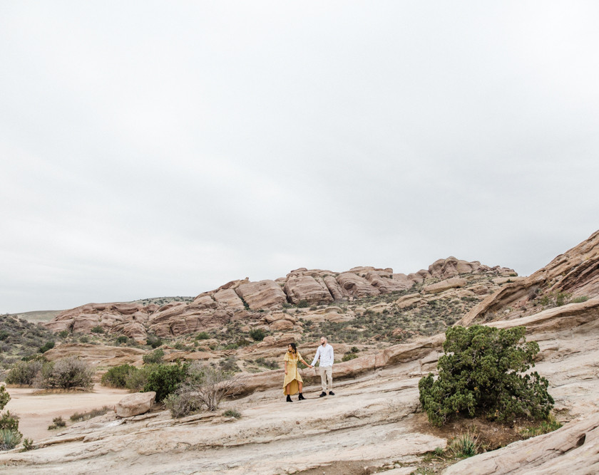 Rachel Birkhofer Photography, Dominique & Zach Elegant Outdoor Session, outdoor engagement, vasquez rocks engagement, velvet dress, yellow dress, adventure session, love, seattle wedding photographer, california adventure photographer, lifestyle session
