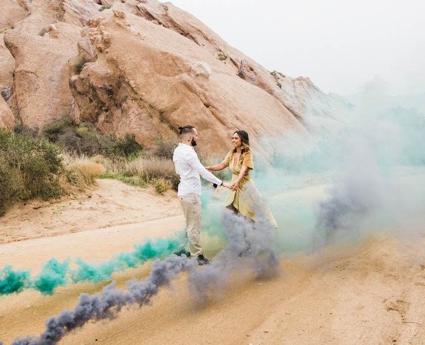 Rachel Birkhofer Photography, Dominique & Zach Elegant Outdoor Session, outdoor engagement, vasquez rocks engagement, velvet dress, yellow dress, adventure session, love, seattle wedding photographer, california adventure photographer, lifestyle session, smoke bomb inspiration, smoke bomb session, smoke bomb portraits, smoke bomb