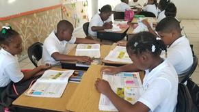 Providenciales school children at work