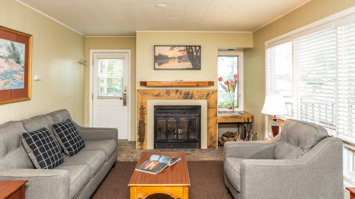 Pinewood West Living Room with fireplace
