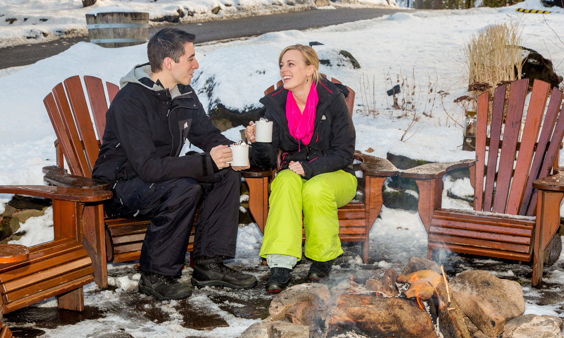 Couple drinking hot chocolate by fire 19
