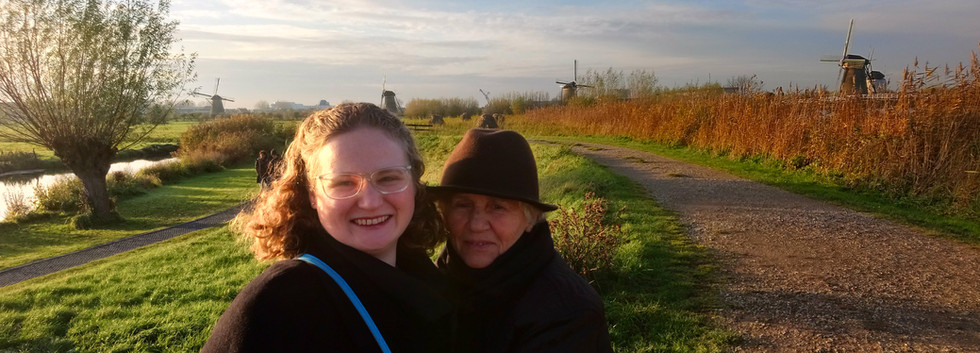 With my grandmother at Kinderdijk.