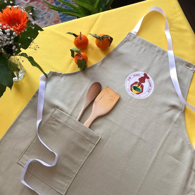 Sage green handcrafted Global Seasons apron