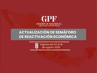 Actualización de semáforo de reactivación económica