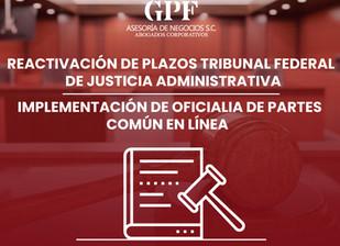 Re activación de plazos del Tribunal Federal de Justicia Administrativa,