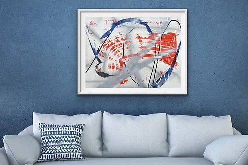 Abstract Orange Blue Silver