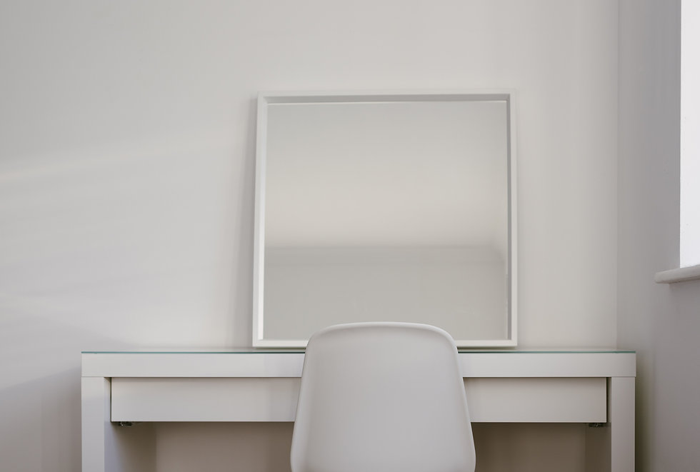 White chair mirror and desk