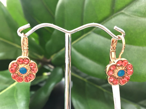Pink & Blue Crystal Rose Gold Flower Earrings - Mariana