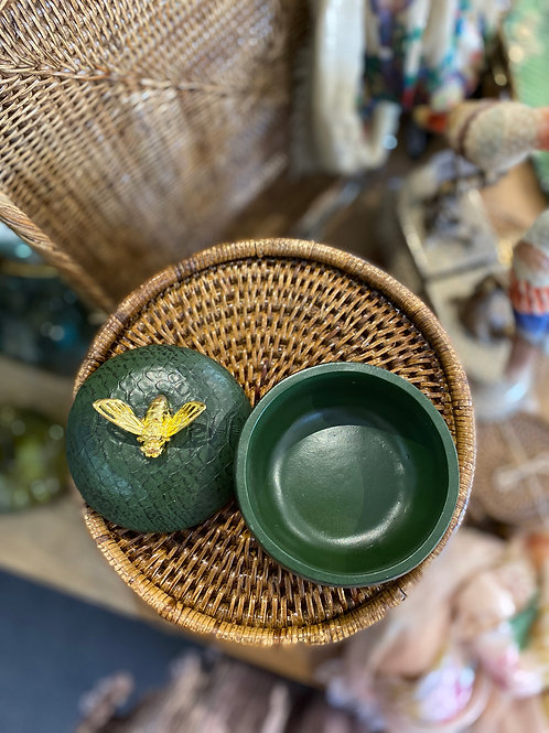 Trinket Box Green Textured Bee