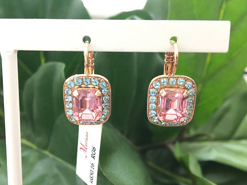 Pink & Blue Crystal Rose Gold Rectangular Earrings - Mariana