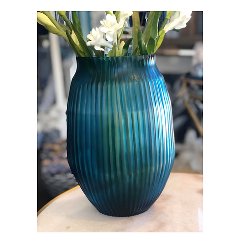 Vase Cut Glass Blue Tint