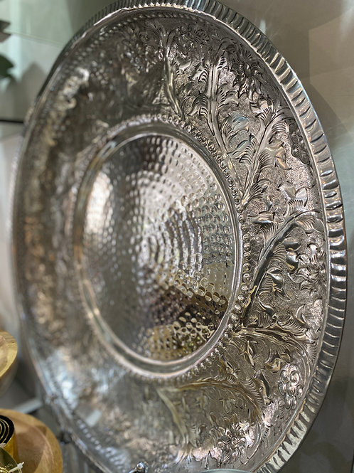 Platter Plate Hammered Aluminium Lrg