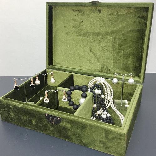 Olive Green Velvet Jewellery Box