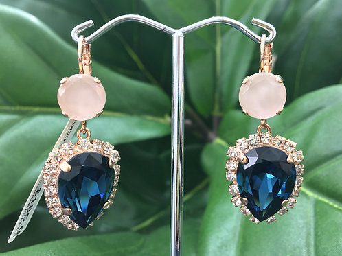 Royal Navy, Clear & Ivory Crystal Rose Gold Droplet Earrings - Mariana