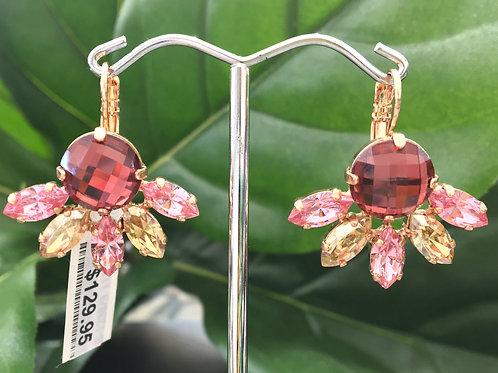 Rhubarb, Pastel Pink & Melon Yellow Crystal Rose Gold Earrings - Mariana